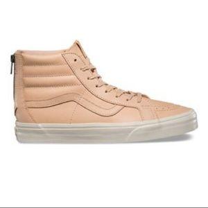 Vans sk8  hi reissue zip beige tan leather sneaker